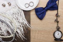 Accesorios masculinos y femeninos de la boda Imagen de archivo libre de regalías