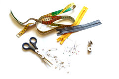 Accesorios para coser Imágenes de archivo libres de regalías