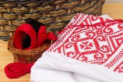 Accesorios para coser y el primer del bordado Imagen de archivo libre de regalías