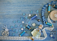 Accesorios para coser y la costura Fotos de archivo
