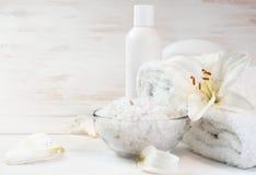 Accesorios para el baño adornado con el lirio blanco Fotos de archivo libres de regalías
