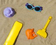 Accesorios para el bebé de la playa Imagen de archivo