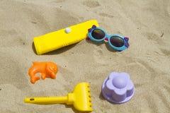 Accesorios para el bebé de la playa Fotografía de archivo libre de regalías