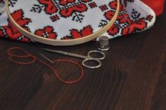 Accesorios para el bordado y coser Imagen de archivo libre de regalías
