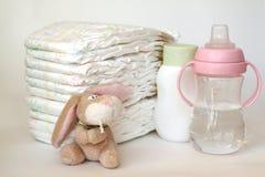 Accesorios para el cuidado del bebé Imagen de archivo libre de regalías