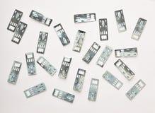 Accesorios para el estudio que enmarca de la imagen en un fondo blanco Imágenes de archivo libres de regalías