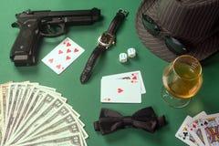 Accesorios para el jugador del casino Fotografía de archivo