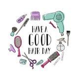 Accesorios para el peluquero s La cita de motivación tiene un buen día del pelo ilustración del vector