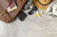Accesorios para el plan de viaje, vacaciones del viaje imagen de archivo