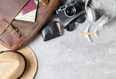 Accesorios para el plan de viaje, vacaciones del viaje imagenes de archivo