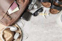 Accesorios para el plan de viaje, vacaciones del viaje, turismo fotografía de archivo libre de regalías