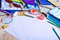 Accesorios para el sastre o el diseñador Imagen de archivo libre de regalías