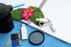 Accesorios para el viajero y el fotógrafo Fotografía de archivo