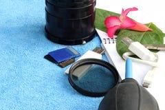 Accesorios para el viajero y el fotógrafo Fotos de archivo