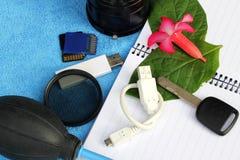 Accesorios para el viajero y el fotógrafo Imagen de archivo libre de regalías