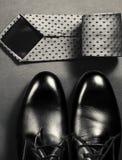 Accesorios para hombre Zapatos con el lazo Fotografía de archivo