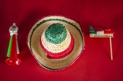 Accesorios para la celebración mexicana del Día de la Independencia Fotos de archivo