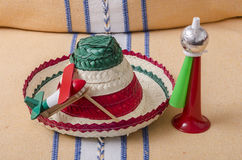 Accesorios para la celebración mexicana del Día de la Independencia Imagen de archivo libre de regalías