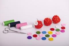 Accesorios para la costura de la mano Imagen de archivo libre de regalías
