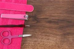 Accesorios para la manicura o la pedicura, concepto del cuidado del clavo, espacio de la copia para el texto Fotos de archivo libres de regalías