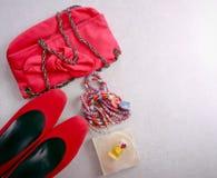 Accesorios para la mujer, visión superior Foto de archivo libre de regalías