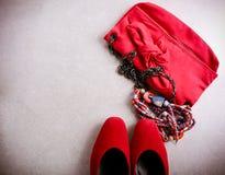 Accesorios para la mujer, visión superior Imágenes de archivo libres de regalías