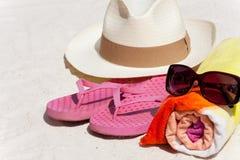 Accesorios para la playa Foto de archivo libre de regalías