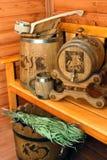 Accesorios para la sauna Imágenes de archivo libres de regalías