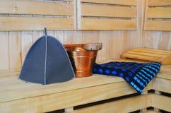 Accesorios para la sauna Fotos de archivo libres de regalías