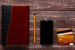 Accesorios para las compras y el pago en línea Fotografía de archivo