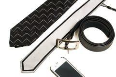 Accesorios para los hombres en la oficina aislada en blanco Fotos de archivo libres de regalías