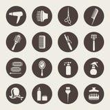 Accesorios para los iconos del salón de pelo Foto de archivo libre de regalías