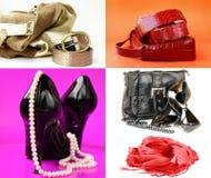 Accesorios para los zapatos de las mujeres, bolsos Imagen de archivo libre de regalías