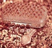 Accesorios para mujer de la moda Reloj y monedero ricos, en lentejuela Imagen de archivo
