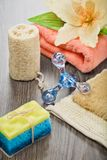 Accesorios para tomar el baño en fondo de madera Foto de archivo libre de regalías