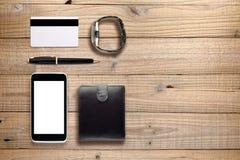 Accesorios personales y objetos en la madera Foto de archivo libre de regalías
