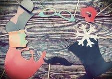 Accesorios por un día de fiesta de la diversión de los complementos de papel, labios Imagen de archivo