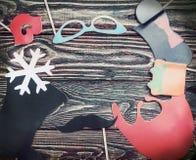 Accesorios por un día de fiesta de la diversión de los complementos de papel, labios Foto de archivo