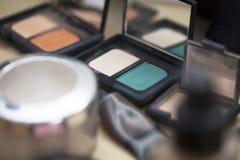 Accesorios profesionales usados del maquillaje Imágenes de archivo libres de regalías