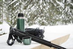 Accesorios que caminan del nordic de la montaña del invierno Foto de archivo libre de regalías
