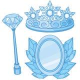 Accesorios reales de la reina de la nieve fijados Stock de ilustración