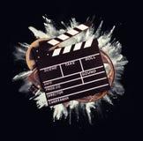 Accesorios retros de la producción de la película con la explosión del polvo Fotografía de archivo libre de regalías