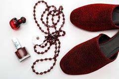 Accesorios rojos de la hembra de la moda Imagen de archivo