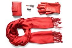 Accesorios rojos de los woman's Foto de archivo