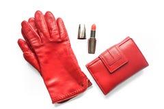 Accesorios rojos de los woman's Fotografía de archivo libre de regalías