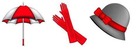 Accesorios rojos por estaciones frías Imagen de archivo