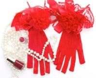Accesorios románticos del día de tarjeta del día de San Valentín Fotos de archivo