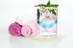 Accesorios rosados del baño Imagenes de archivo