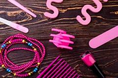 Accesorios rosados del maquillaje Fotografía de archivo