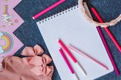 Accesorios rosados muchacha, cuaderno con las plumas, visión superior Fotos de archivo